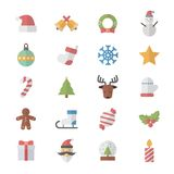 Flat Color Icons Design Set of Christmas Icons. Stock Image
