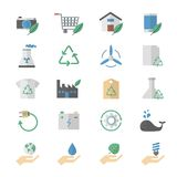 Flat Color Icons Design Set of Environment and Green, Ecology Icons. Royalty Free Stock Image