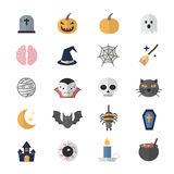Flat Color Icons Design Set of Halloween. Royalty Free Stock Photography