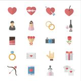 Flat Color Icons Design Set of Love Valentines and Wedding Icons. Stock Images