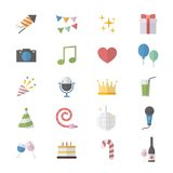 Flat Color Icons Design Set of Party Celebration Icons. This is graphics vector Illustration icons. Ready to use for websites, social medias, presentations Royalty Free Stock Photography
