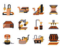 Flat color icons for food processing. Set of flat color style icons for food processing machinery and equipment. Industrial ovens, dryer, conveyors, packaging Royalty Free Stock Photos