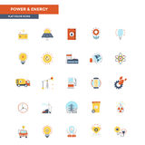 Flat Color Icons- Power and Energy. Modern flat design icons for Power and Energy. Icons for web and app design, easy to use and highly customizable. Vector Stock Photo
