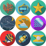 Flat color icons for sea leisure. Set of flat color design icons for sea adventures on white background Stock Photos