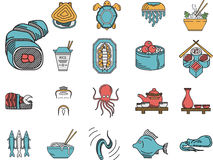 Flat color icons for seafood menu Royalty Free Stock Images