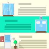 Flat color icons set for doors Stock Images