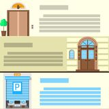 Flat color icons set for entrance Stock Image