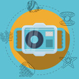 Flat color illustration for snorkeling Stock Photography
