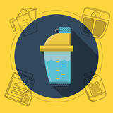 Flat color illustration for sports nutrition Royalty Free Stock Photo