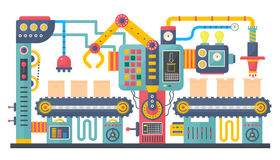 Flat color industrial manufacture conveyor machine vector illustration. Business product process production process Royalty Free Stock Image