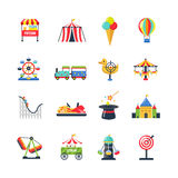 Flat Color Isolated Amusement Park Icons. Flat color amusement park icons with roller coaster circus tent ferris wheel and airship isolated vector illustration royalty free illustration