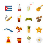 Flat Color Isolated Cuba Icons. Flat color cuba icons with  state sovereignty elements national and cultural traditions and climate symbols isolated vector Stock Image