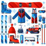 Flat Color Isolated Skiing Icons Stock Photos