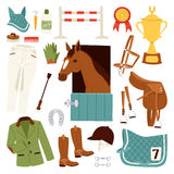 Flat color jockey icons set with equipment for horse riding isolated and horseshoe saddle sport race equestrian stallion Stock Image