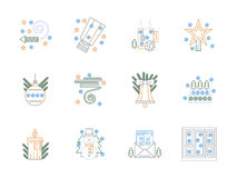 Flat color line Christmas icons set. Blue, green and yellow flat line icons set for Christmas and New Year. Christmas decorations and tree, snowman and Royalty Free Stock Photography