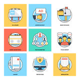 Flat Color Line Design Concepts Vector Icons 19. Various Flat Color Line Design Concepts Designed for Web, Document, Greeting Card, Poster, Label and Other stock illustration