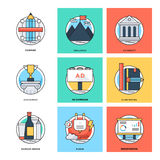 Flat Color Line Design Concepts Vector Icons 13 Royalty Free Stock Photo