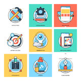 Flat Color Line Design Concepts Vector Icons 23 Stock Image