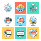 Flat Color Line Design Concepts Vector Icons 29 Royalty Free Stock Photography