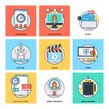 Flat Color Line Design Concepts Vector Icons 12. Various Flat Color Line Design Concepts Designed for Web, Document, Greeting Card, Poster, Label and Other vector illustration