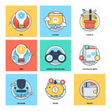 Flat Color Line Design Concepts Vector Icons 15. Various Flat Color Line Design Concepts Designed for Web, Document, Greeting Card, Poster, Label and Other Royalty Free Illustration