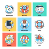 Flat Color Line Design Concepts Vector Icons 14 Stock Photography
