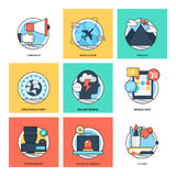 Flat Color Line Design Concepts Vector Icons 38 Stock Image