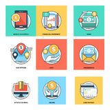 Flat Color Line Design Concepts Vector Icons 16 Royalty Free Stock Photography