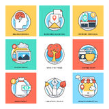 Flat Color Line Design Concepts Vector Icons 3 Royalty Free Stock Photos