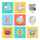 Flat Color Line Design Concepts Vector Icons 5 Royalty Free Stock Photos