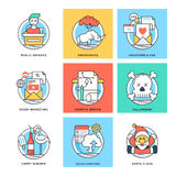 Flat Color Line Design Concepts Vector Icons 2 Royalty Free Stock Images