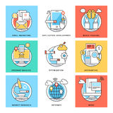 Flat Color Line Design Concepts Vector Icons 6. Various Flat Color Line Design Concepts Designed for Web, Document, Greeting Card, Poster, Label and Other Stock Photography