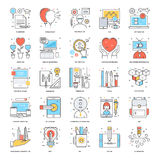 Flat Color Line Icons 13 Stock Photo
