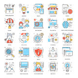 Flat Color Line Icons 12. A collection of Flat Color Line Icons that you can easily integrate in your design and the cool thing is, that there are so many of Royalty Free Stock Image