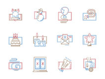 Flat color line icons for December holidays Royalty Free Stock Photos