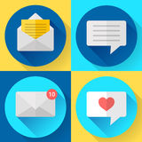 Flat color message sms icons set Royalty Free Stock Photography