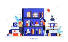 Flat color Modern Illustration design - E-Library. Modern flat design illustration of E-library. Can be used for website and mobile website or Landing page. Easy stock illustration