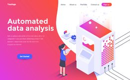 Flat color Modern Isometric Concept Illustration - Automated dat. Modern flat design isometric concept of Automated data analysis for website and mobile website stock illustration