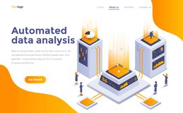 Flat color Modern Isometric Concept Illustration - Automated dat. Modern flat design isometric concept of Automated data analysis for website and mobile website vector illustration