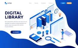 Flat color Modern Isometric Concept Illustration - Digital Library. Modern flat design isometric concept of Digital Library for website and mobile website stock illustration