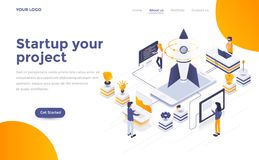 Flat color Modern Isometric Concept Illustration - Startup your. Modern flat design isometric concept of Startup your project for website and mobile website vector illustration