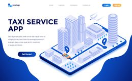 Free Flat Color Modern Isometric Concept Illustration - Taxi Service App Royalty Free Stock Photo - 139282805
