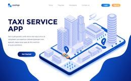 Flat color Modern Isometric Concept Illustration - Taxi Service app. Modern flat design isometric concept of Taxi Service app for website and mobile website vector illustration
