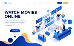Free Flat Color Modern Isometric Concept Illustration - Watch Movies Online Stock Photos - 139282723