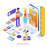 Flat color Modern Isometric Illustration - App development. Modern flat design isometric illustration of App Development. Can be used for website and mobile royalty free illustration