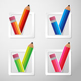 Flat Color Paper Pencils Check Box Vector Royalty Free Stock Image