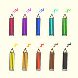 Flat color pencil icons, colour pencils with scratches set royalty free illustration