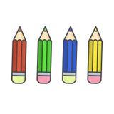 Flat color pencil icons. Colour pencils set Stock Images