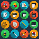 Flat color printing icons Stock Photo
