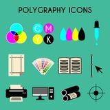 Flat color printing polygraphy icons set. Bezier curve, pipette, computer, spectrum, gamma and tool. Vector illustration Royalty Free Stock Image